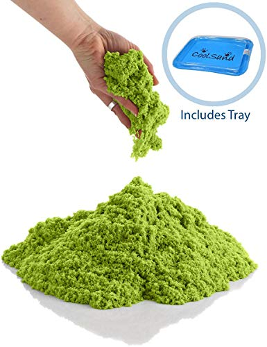 CoolSand Green 5 Pound Refill Pack - Including: 5 Pounds Moldable Indoor Play Sand, Storage Bucket & Inflatable Sandbox ()