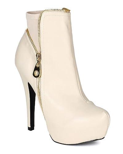 B90 Women Leatherette Zipper Platform Stiletto Ankle Bootie - Stone