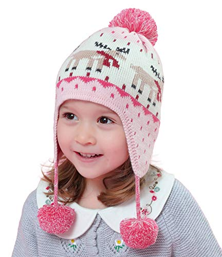 Connectyle Boys Girls Knit Kids Hat Cotton Earflap Beanie Hat Warm Winter Beanies Skull Cap with Pom Pink