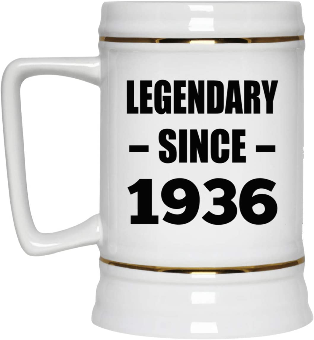 84th Birthday Legendary Since 1936-22oz Beer Stein Ceramic Bar Mug Tankard High Quality - Idea for Friend Kid Daughter Son Grand-Dad Mom Jarra de Cerveza, de Cerámica - Regalo para Cumpleaños An