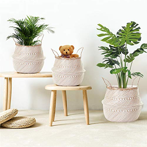 La Maia Medium Natural & Plus Woven Seagrass Belly Plant Basket with Handles Woven Planter Basket for Storage, Laundry, Picnic, and Beach Bag