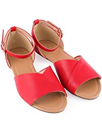 Open Toe Flats Shoes - Ankle Strap Peep Toe Dress Sandals - Quick Release Buckle