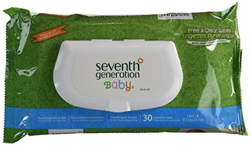Seventh Generation Free and Clear Baby Wipes Travel Pack, 30 Count (Pack of 12)