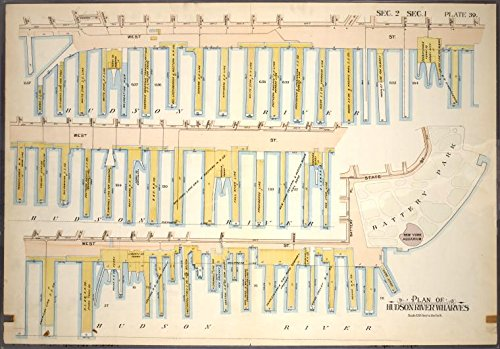 - Historic 1899 Map | Plate 39, Sec. 2 & Sec. 1: Plan of Hudson River Wharves [Covers | Antique Vintage Map Reproduction