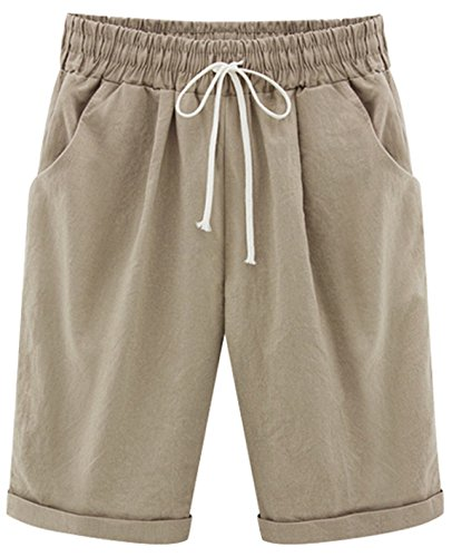 Stretch Khakis Cotton (HOW'ON Women's Casual Elastic Waist Knee-Length Curling Bermuda Shorts with Drawstring Khaki L)
