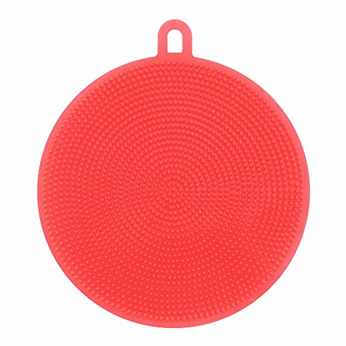 Antibacterial Silicone Non Stick Dishwashing Brush Dish Towel Scrubber For Kitchen Wash Pot Pan Dish Bowl / Wash Fruit and Vegetable by QISC (Red)