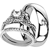 NYCJewelrydesign 3 Pieces Men's and Women's, His & Hers, 925 Genuine Solid Sterling Silver & CZ Titanium Band Engagement Matching Wedding Ring Set