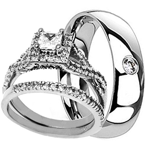 NYCJewelrydesign 3 Pieces Men's and Women's, His & Hers, 925 Genuine Solid Sterling Silver & CZ Titanium Band Engagement Matching Wedding Ring Set by NYCJewelrydesign