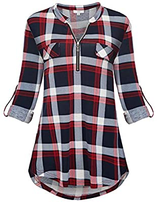 Jdaxiy Womens 3/4 Rolled Sleeve Plaid Shirt Zip V Neck Tunic Top Flannel Casual Blouses