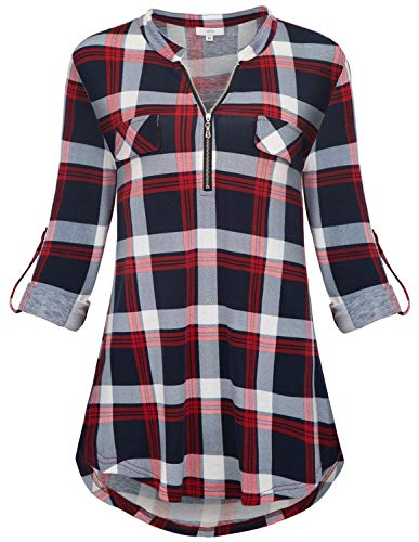 Womens Tunic Tops for Leggings, V Neck Henley Oversized Plaid Gingham Shirts for Women Roll Sleeve Blouses Plus Size Causal Loose Soft Dressy Hem Home Wear Autumn Clothes Red XL ()