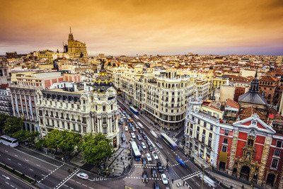 Gran Via Madrid Spain Cityscape On Shopping Street 71730269 Poster 60 X