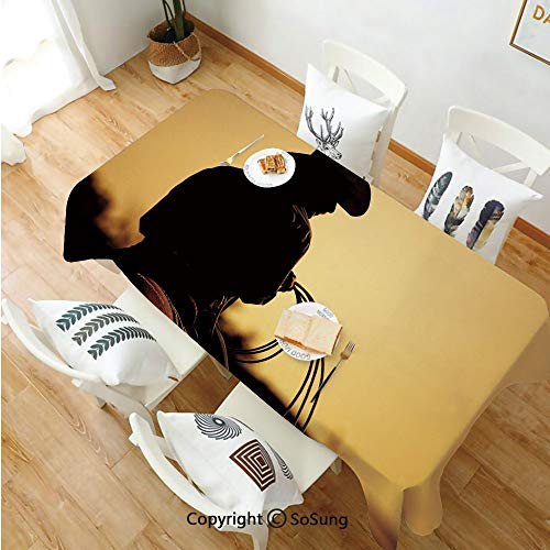 Western Rectangle Polyester Tablecloth,Cowboy with Lasso Silhouette at Small Town Rodeo Theme American USA Culture Decorative,Dining Room Kitchen Rectangle Table Cover,70W X 90L inches,Brown Light Bro]()
