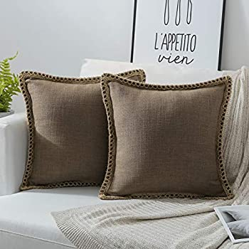 Amazon.com: HOME BRILLIANT 2 Pack Lined Linen Euro Sham ...