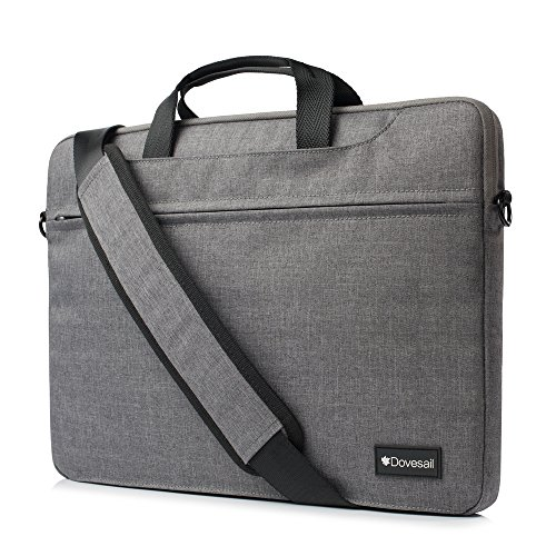 Dovesail 14-15.4 Inch Slim Laptop Shoulder Bag Compatible 15 Inch 2016/2017 MacBook Pro with Touch Bar A1707, MacBook Pro, Fit 14 Inch Chromebook Briefcase Sleeve Bag,Gray