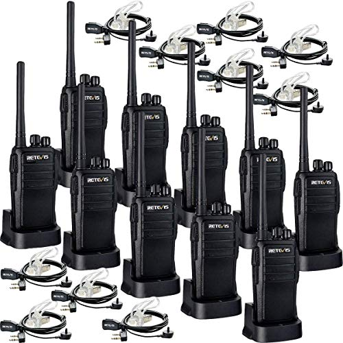 Retevis RT21 Two Way Radio Rechargeable 2 Way Radios UHF FRS VOX Emergency Security Long Range Walkie Talkies with Secret Service Earpiece (10 Pack) (Retevis 4 Pack Walkie Talkie)
