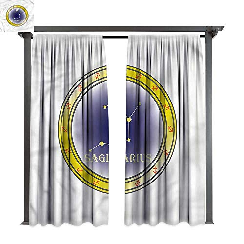 (cobeDecor Thermal Insulated Drapes Zodiac Sagittarius Horoscope Stars for Lawn & Garden, Water & Wind Proof W108 xL84)