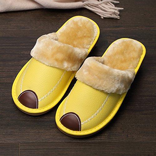 Fankou Indoor pantofole di cotone femmina pacchetto invernale con grazioso personaggio dei fumetti post-pantofole uomini cotone e ,34-35, il vino rosso 185