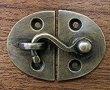 Vintage Cabin Cabinet Oval Door Latch Hook Solid Brass Hasp Lock Gate