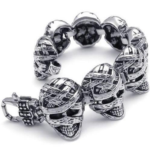 KONOV Heavy Stainless Steel Gothic Mummy Skull Biker Men's Bracelet Bangle, Silver
