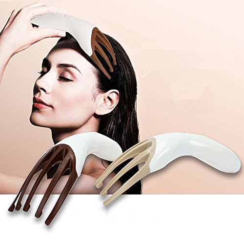 Head Massager Neck Massage Octopus Scalp Stress Relax Spa Therapy Healing, Soft Resin Finger Gripper Claw Electronic Head Spa Vibration Scalp Massage Tool(Brown)