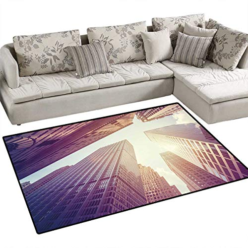 City Anti-Skid Rugs High Rise Buildings in Manhattan Vintage Stylized Photo Business Finance Girls Rooms Kids Rooms Nursery Decor Mats 48