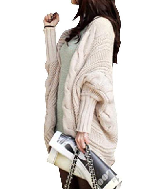 Hulday Cardigan Mujer Elegante Moda Colores Sólidos Casuales Abrigos Primavera Estilo Simple Abrigo Tejido Mangas De Murciélago Informales Talla Grande ...
