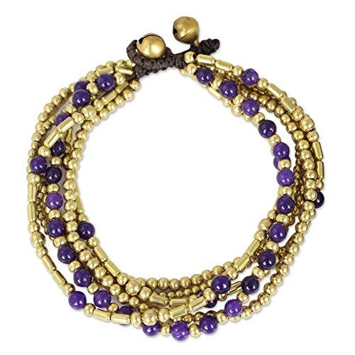 "NOVICA Quartz Brass Beaded Bracelet, 7.5"""