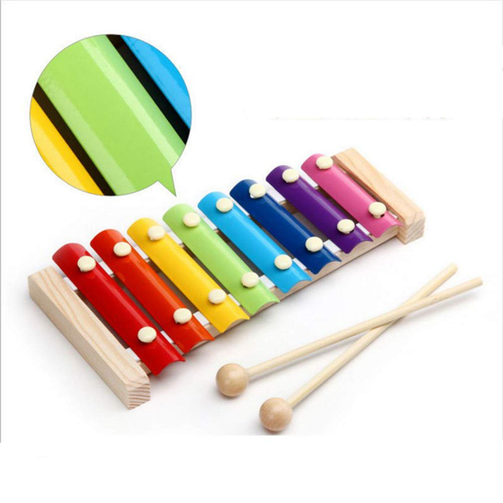 AIYIOUWEI Colorful 8 Tones Hand Knock Xylophone with 2 Wooden Mallets -Inspire Children's Talent for Music