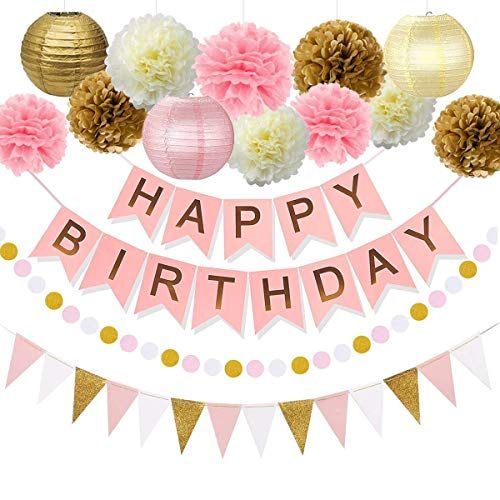 ZICA Pink and Gold Birthday Party Decorations Decor Supplies First 1st Birthday Girl Decors Decorations Kit Pom Pom Lanterns Polka Dot Triangle Garland Banner Party Supplies Backdrop -
