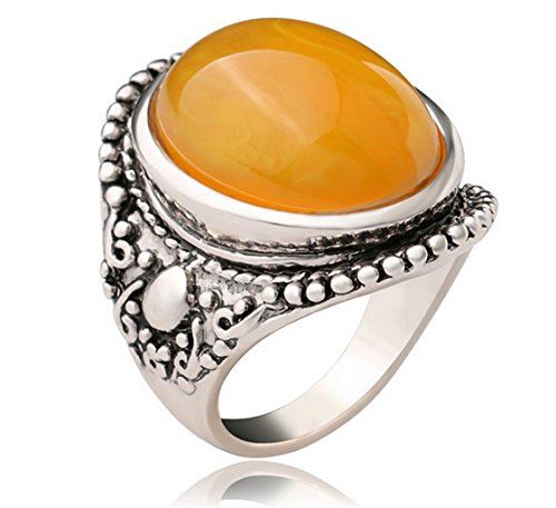 PSRINGS Precious Stone Rings De Ouro Silver Plated Hollow Amber Rings Perfumes Large Yellow Stone Ring 8.0