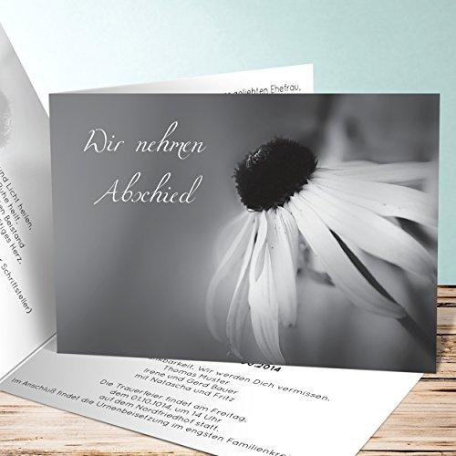 Einladungskarten Beerdigung, Blütenstempel 40 Karten, Horizontale Klappkarte 148x105 inkl. weiße Umschläge, Grau