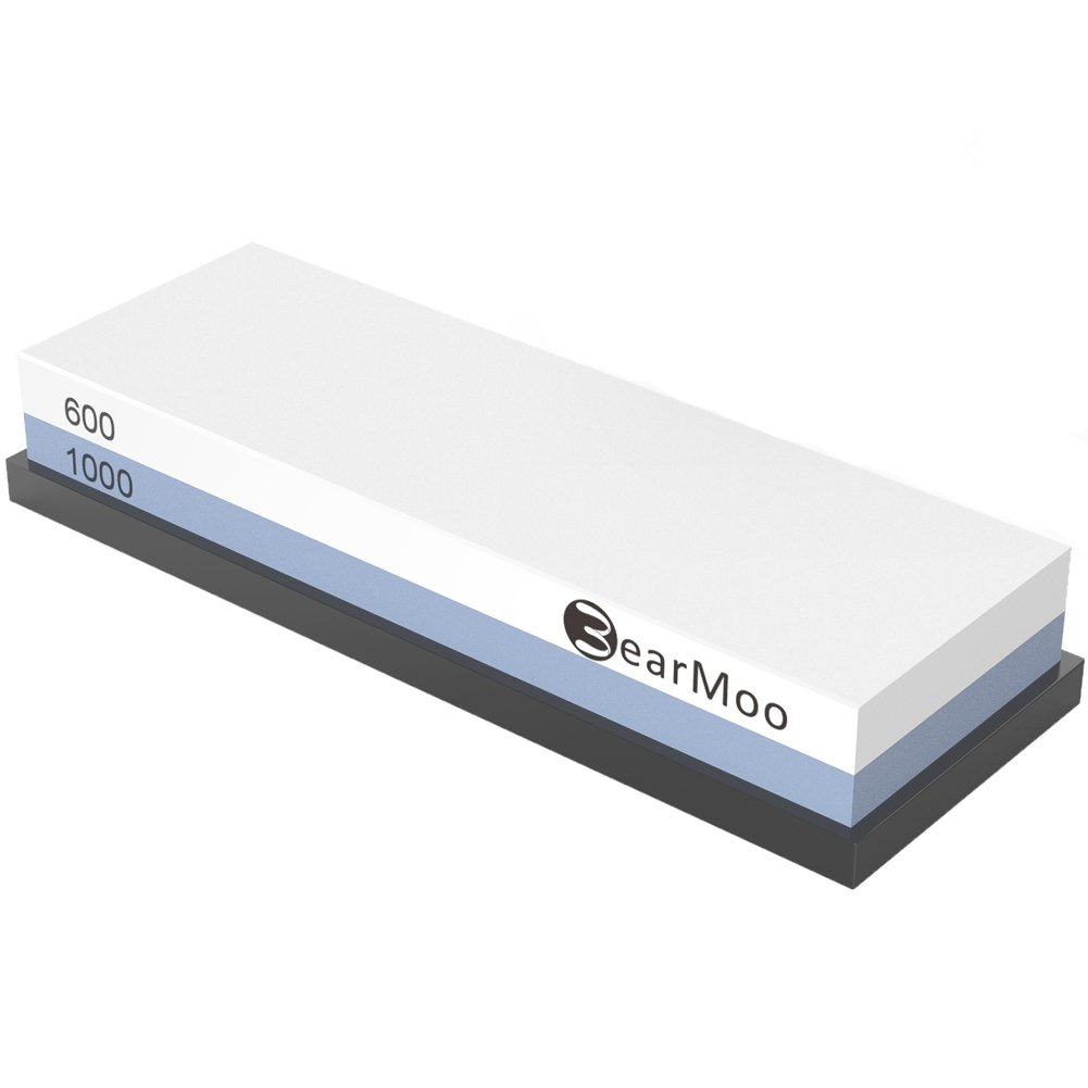 BearMoo Whetstone Sharpening Stone 600/1000 Grit Premium Professional Double-Sided Sharpening Stone Set SS08
