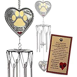 Dog Memorial - Heart Wind Chimes with Paw Print Design - Pet Bereavement Saying - Garden Remembrance for Animals