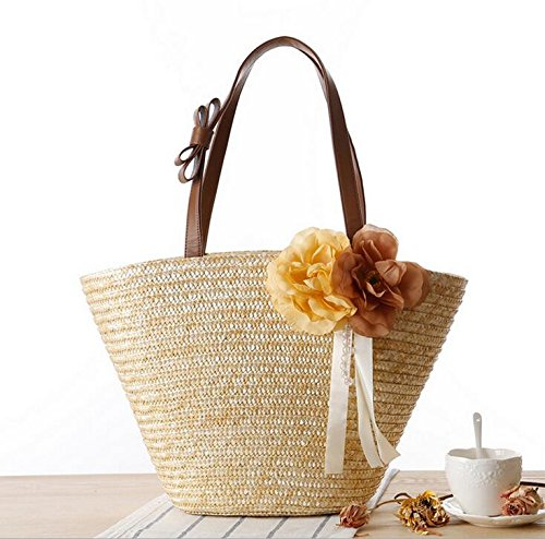 For The Bag Carry Sand Handbags Capacity Large MDRW Bag Fashion Flowers Woven New Bag Shoulder Seaside Ladies Olici Hand Resort Straw 71xHqtBww