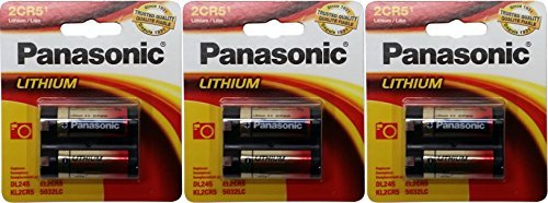 3 Panasonic 2CR5 6-Volt Photo Lithium Cylinder Batteries 2CR