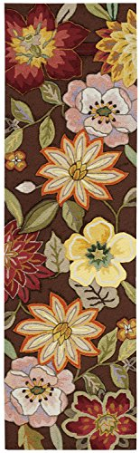 Rug Squared Laurel Floral Rug Runner (LA18), 2-Feet 3-Inches by 8-Feet, Chocolate