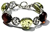 Sterling Silver Cherry-Caribbean Amber Vintage-Style Bracelet