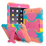 AMEISEYE Kids Case for iPad Mini 1 2 3 Full Body Protective Silicone Cover with Screen Protector Resistant Shockproof Scratchproof & Adjustable Kickstand for Apple iPad Mini 1 2 3 Case (Ice Pink)