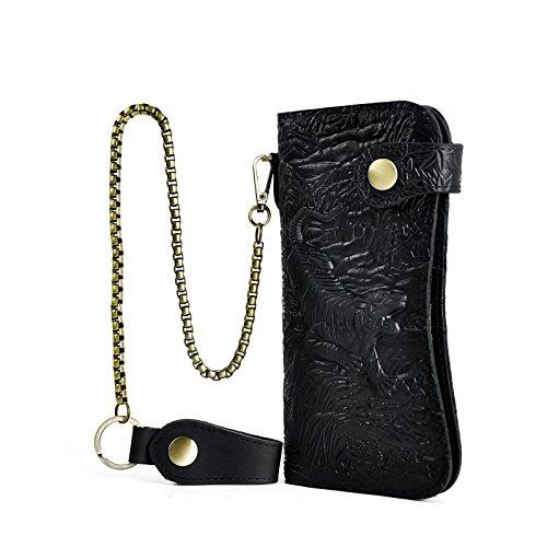Le'aokuu Carteras de moda para hombre bolsa de mano monederos de piel genuina Organizadores de bolsos Tigre negro