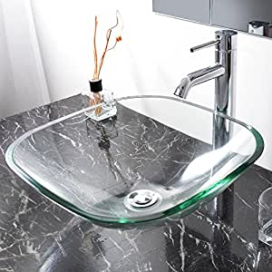 Bathroom Tempered Glass Vessel Sink Natural Clear Square Shape Transparent Basin