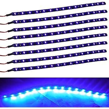 XT AUTO 8pcs 12V Super Bright 30cm 15 LED Flexible Waterproof LED Strip  Light For Car