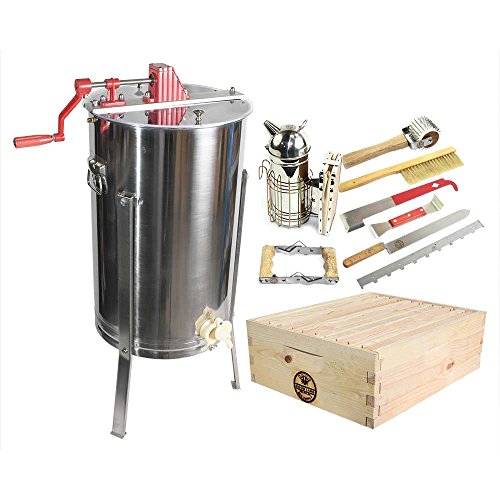 GOODLAND BEE SUPPLY GL-E2-1SK-TK1 2 Bee Hive Frame Honey Extractor and...