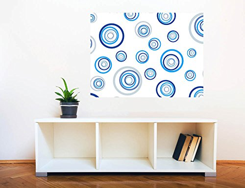 Removable Wall Sticker Wall Mural Fresh Blue Abstract Circles Creative Window View Wall Decor