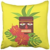 Staroutah Throw Pillow Cover 18''X18'' Decorative Polyester Tropical Palm Leaves And Flowers Hibiscus Hawaii With Tiki Mask Exotic Summer Pillowcase Print Two Sides Deco Home