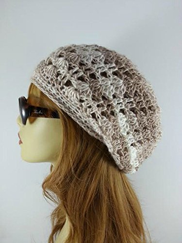 Summer Hat for Women Beige Crochet Slouchy Beanie Handmade in USA