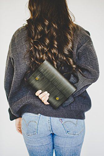 Notebook Journal From Recycled Tires by Streamlet. 100% Environmentally Smart. Handmade with Tire Cover, Vegan Leather Straps, 8x6 Inches, 240 Blank Pages. Compare to Quality Leather BRONZE by STREAMLET (Image #3)