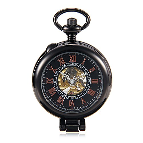 Amazon.com: See Though Case Black Steampunk Roman Number Mens Hand Wind Mechanical Pocket Watch w/Chain Half Hunter reloj de bolsillo: Watches