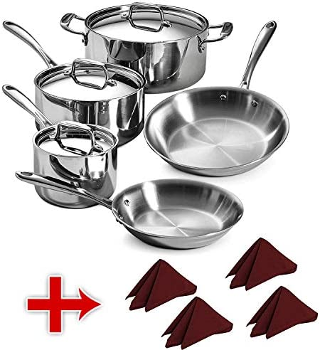 Tramontina 80116 568DS Stainless Steel Tri-Ply Clad Cookware Set, 8-Piece With Napkins