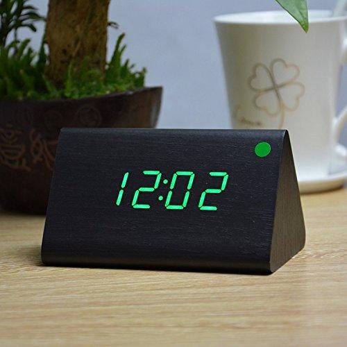 8310 Bluetooth - Alarm clock, creative mute, lazy luminous, modern electronic clock, fashionable wooden clock, student bedside clock,Blackwood green