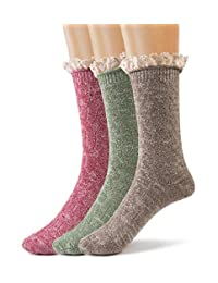 Silky Toes Women's Vintage Thick Warm Winter Casual Boot Socks with Lace -3 Pk
